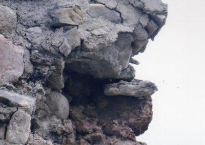 Foudre sur le mur du clocher 2016