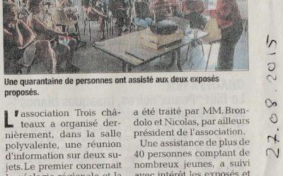 Article du Dauphiné du 27 août 2015