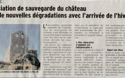 Article Dauphiné Libéré du  08 11 2016