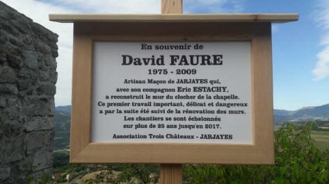 Jarjayes3C Plaque David Faure Jarjayes trois châteaux